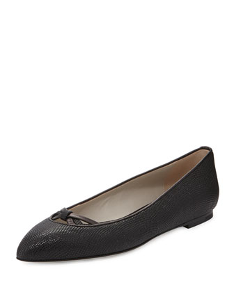 Lizard-Embossed Ballerina Flat, Black