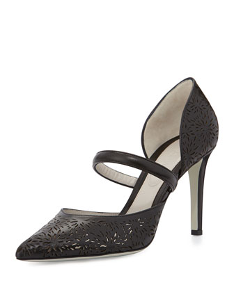 Laser-Cut Leather d'Orsay Pump, Black