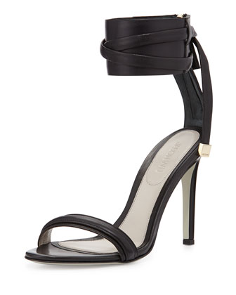 Leather Ankle-Strap Sandal, Black