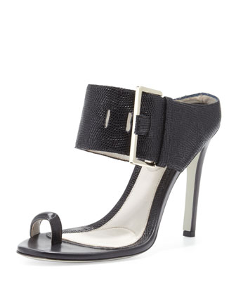 Buckled High-Heel Slide Sandal