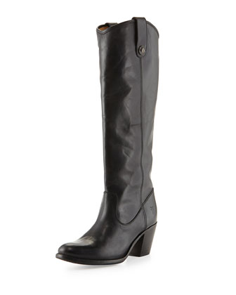 Jackie Button-Tab Boot, Black