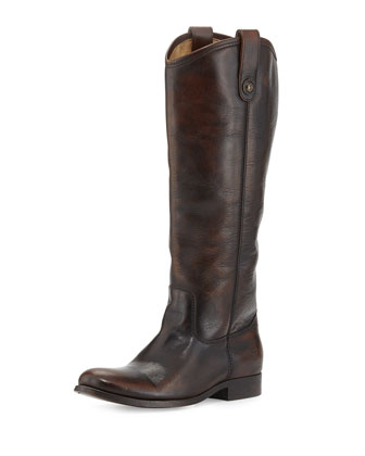 Melissa Leather Button Boot, Dark Brown, Extended Calf