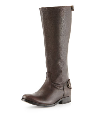 Melissa Leather Zip-Back Riding Boot, Dark Brown