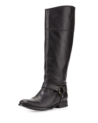 Melissa Harness Leather Riding Boot, Black