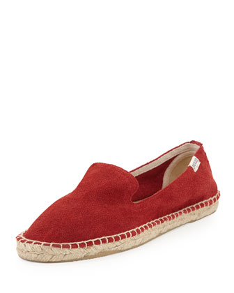 Suede Espadrille Loafer, Oxblood Red