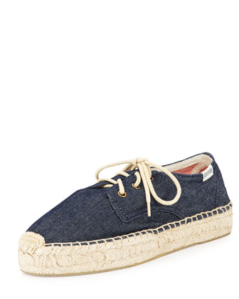 Platform Derby Lace-Up Espadrille Flat, Denim Rinse