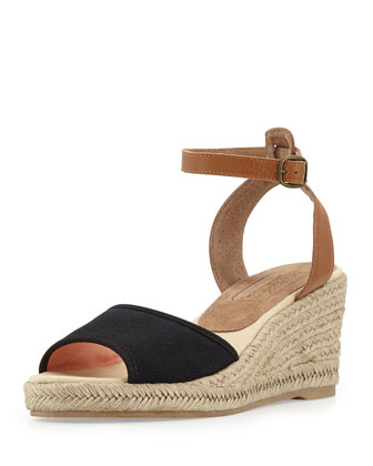 Canvas Espadrille Wedge Sandal, Black