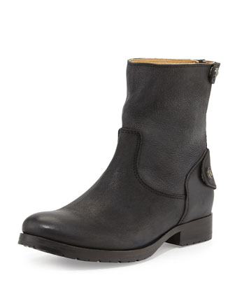 Melissa Zip/Snap Short Boot, Black