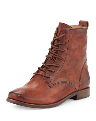 Anna Lace-Up Leather Short Boot, Cognac