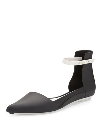Cutting Pointed-Toe d'Orsay Jelly Flat, Black