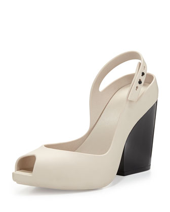 Flip Jelly Chunky-Heel Sandal, Cream/Black
