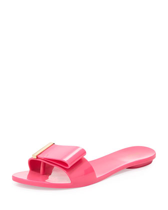 Lovely Bow Flat Slide Jelly Sandal, Pink