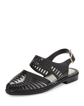 Jason Wu Magda Pointy Cutout Jelly Sandal, Black