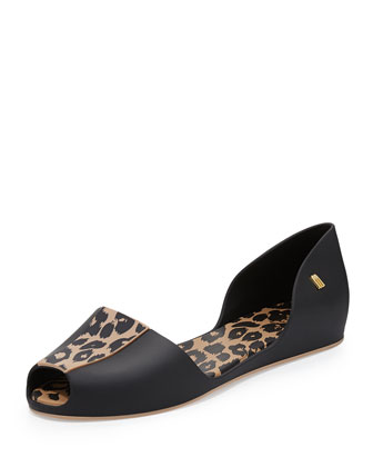 Fresh Bloom II Leopard-Print Jelly d'Orsay Sandal, Black/Leopard