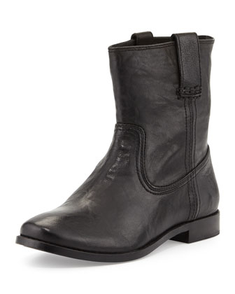 Anna Leather Short Boot, Black