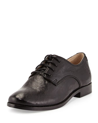 Anna Lace-Up Leather Oxford, Black