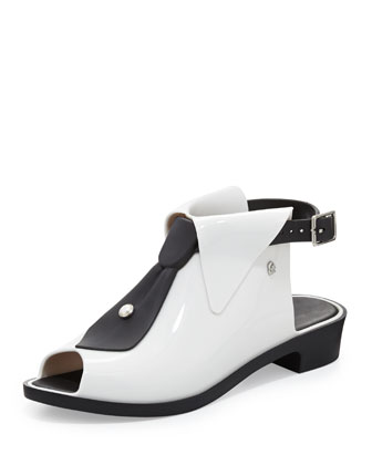 Karl Lagerfeld Black-Tie Jelly Glove Flat, White/Black