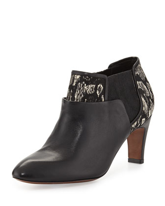 McPhee Mixed-Media Ankle Boot, Black/White