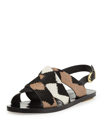 Poet Calf Hair Strappy Sandal, Black/White