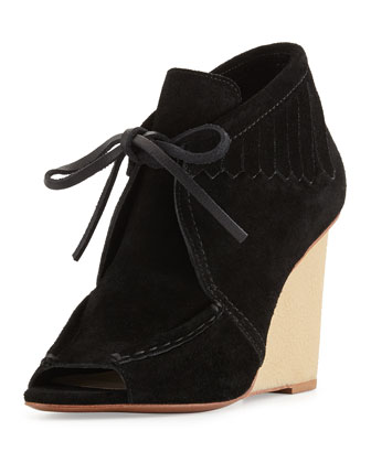 Zared Suede Moccasin Wedge Bootie, Black