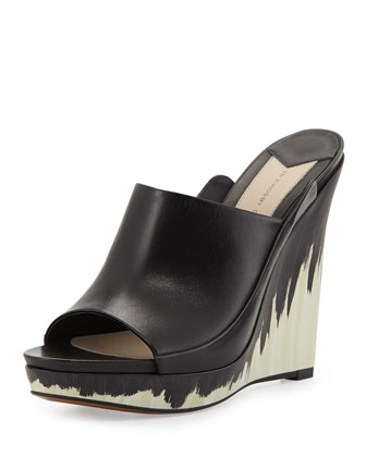 Glinda Hand-Painted Leather Wedge Mule, Black