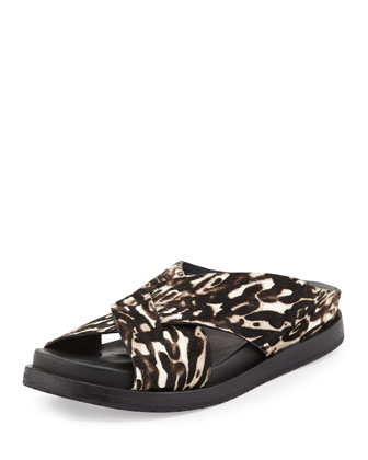 Black Rock Calf Hair Crisscross Slide Sandal