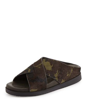 Black Rock Calf Hair Slide Sandal, Green Camo