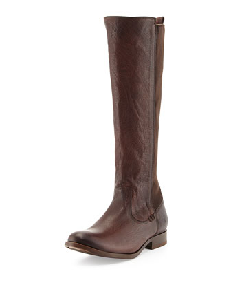 Molly Stretch-Back Tall Boot, Dark Brown