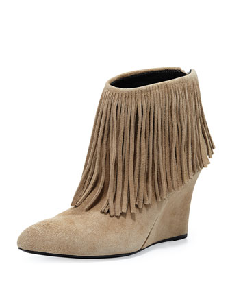 Fringe Suede Wedge Bootie, Taupe
