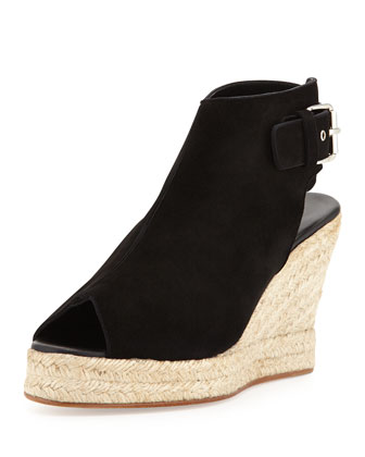 Lesley Suede Espadrille Wedge, Black
