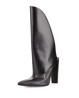 Runway Leather Bootie Mule