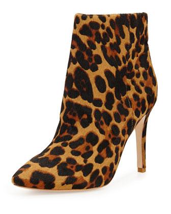 Lina Leopard-Print Calf Hair Bootie