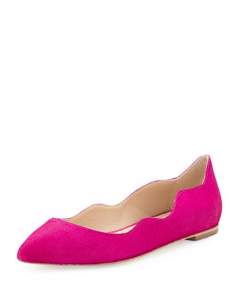 Milia Calf Hair Scalloped Point-Toe Flat, Magenta