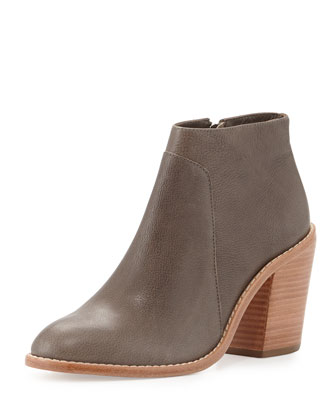Ella Pebbled Leather Ankle Bootie, Cream/Black