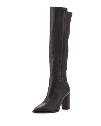 Minetta Pointy-Toe Knee Boot, Black