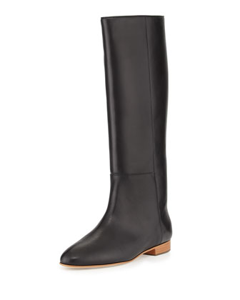 Marit Flat Leather Knee Boot, Black