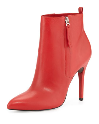 Zane Leather Ankle Boot, Red