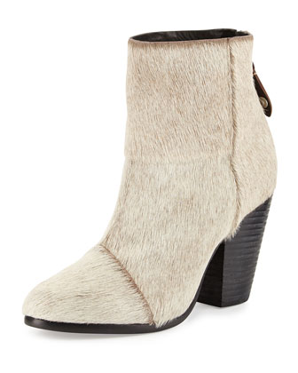 Newbury Classic Calf Hair Ankle Boot, Oatmeal