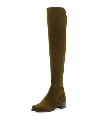 Reserve Suede Over-the-Knee Boot, Olive (Made to Order)