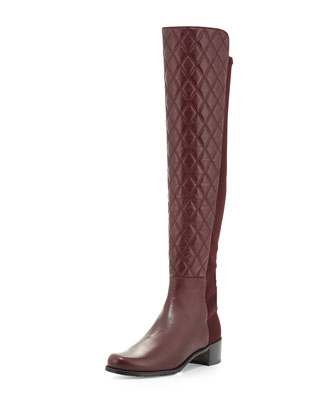 Quiltoga Reserve Leather Over-the-Knee Boot, Bordeaux