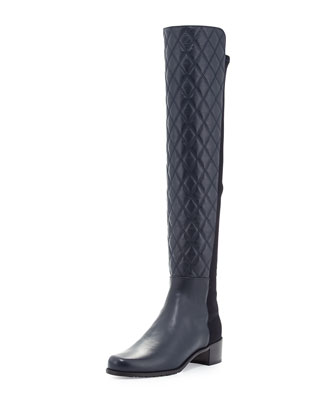 Quiltoga Reserve Leather Over-the-Knee Boot, Navy (Made to Order)