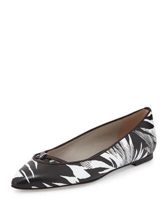Tropical-Print Crisscross Ballerina Flat, Ivory/Black
