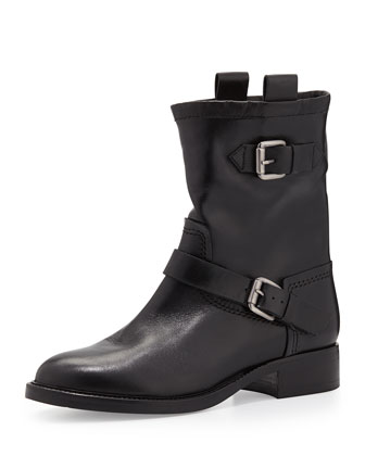 Blake Double-Buckle Biker Boot, Black