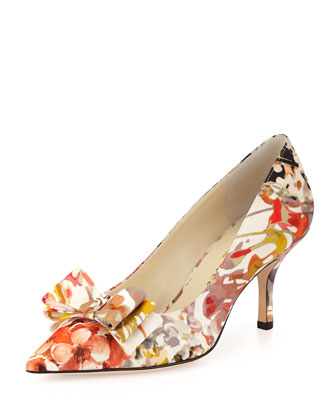 Caron Floral-Print Bow Pump, English Garden