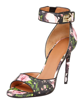 Floral Shark-Lock Ankle-Wrap Sandal
