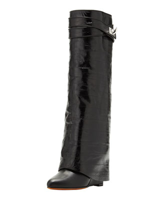 Eel Shark Lock Fold-Over Boot, Black