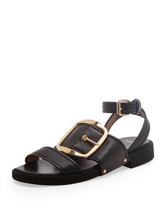 Chunky-Buckle Flat Sandal
