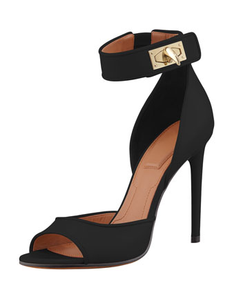 Shark-Lock Ankle Wrap Sandal, Black