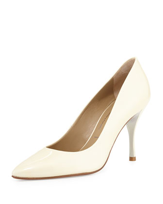 Brave Patent Leather Pump, Bone