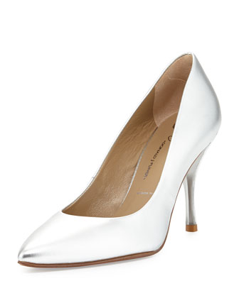 Brave Metallic Leather Pump, Silver